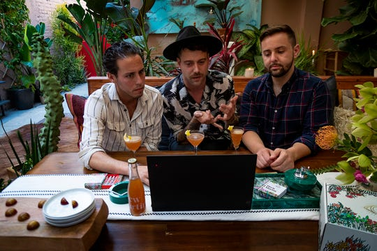 Drew Martin founders Andrew Freeman, from left, Drew Martin Gosselin and Nicholas Pritzker host a virtual gathering on June 25, 2020 from Freeman and Gosselin's East Hollywood home in Los Angeles, Calif.
