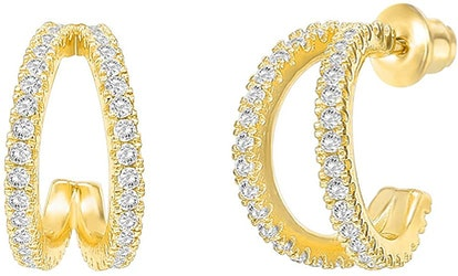 PAVOI 14K Gold-Plated Sterling Silver Split Hoop Earrings